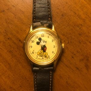 Mickey Mouse Vintage Watch with Dark Brown Band